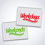 Realistic spiral weekends workdays notebook notepad isolated whi