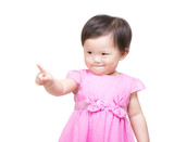 Asian baby girl pointing to you