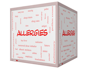 Allergies Word Cloud Concept on a 3D cube Whiteboard