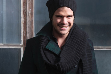 closeup of an autumn smiling fashion man