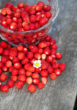 wild strawberries on wooden surface