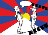 silhouette couple, whit tibetan flag