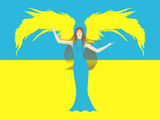 Female angel against the flag of Ukraine