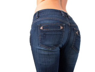 Woman's butt in slim fit jeans