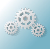 Illustration of three gears on blue background