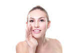 Smiling Skin care woman whisper