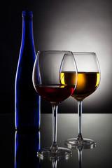 White wine on black background