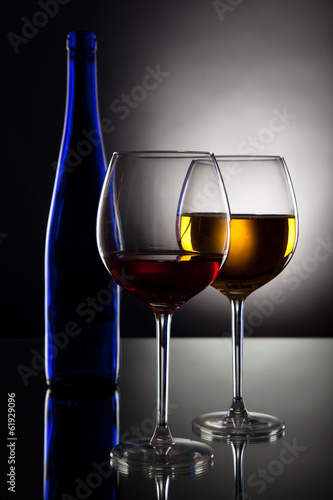 White wine on black background