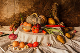 Still life photography with pumpkin, spices, herbs, vegetables a