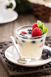 Cream dessert with berries