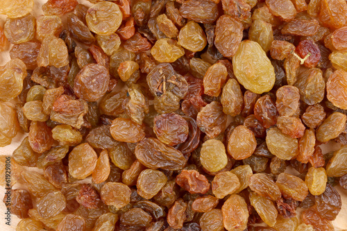 Close up of golden raisins.
