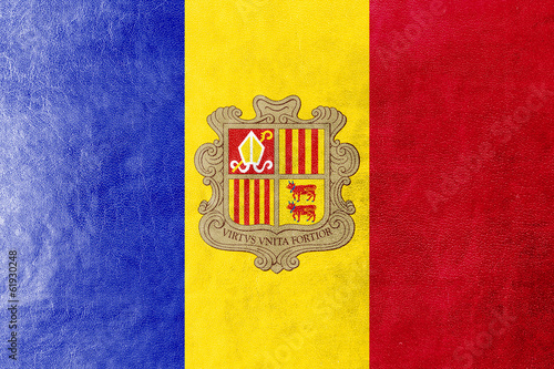 Andorra Flag painted on leather texture