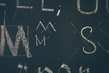 Typography lesson with blackboard with handwritten chalk letters