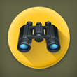 Binoculars, long shadow vector icon