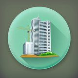 Building, long shadow vector icon