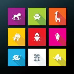 Vector flat baby toy icon set