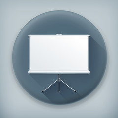 Blank Projection screen, long shadow vector icon