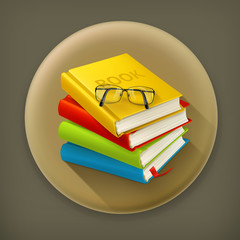 Books and glasses, long shadow vector icon