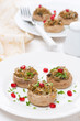 appetizer - stuffed mushrooms with herbs and pomegranate
