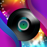 Vinyl record over abstract background
