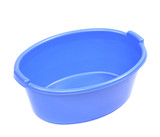 Blue plastic basin.