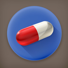 Capsule, long shadow vector icon