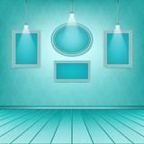Luxury blue interior with empty frames. Picture gallery