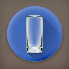 Empty glass, long shadow vector icon