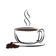 Coffee or cup of tea on a white background
