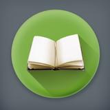 Open book, long shadow vector icon