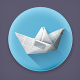 Paper boat, long shadow vector icon
