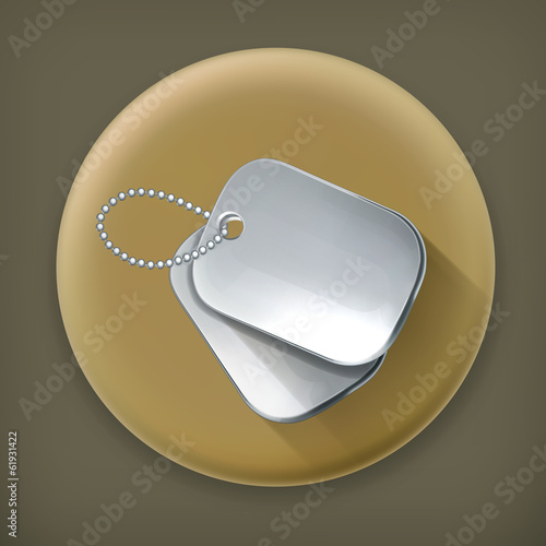 Military dog tags, long shadow vector icon