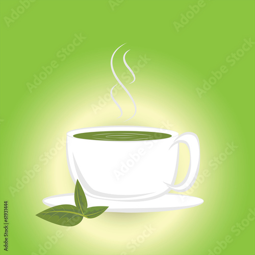 Hot green tea or cup of tea on a green background