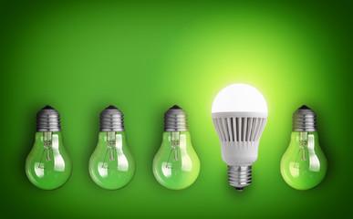 Idea concept with row of light bulbs