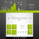 Modern Eco website template with flat eco land illustration