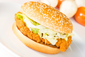 Crispy chicken burger close-up