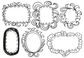 Hand drawn felp-tip pen frames. Vector illustration.