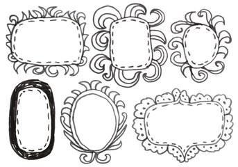 Hand drawn felp-tip pen frames. Vector illustration.
