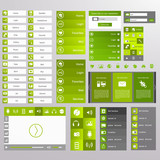 Green Web Design, elements, buttons, icons. Templates for websit