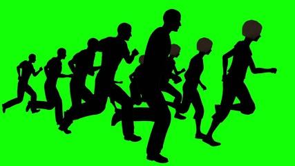 Running people.