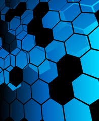 Blue abstract hexagon background