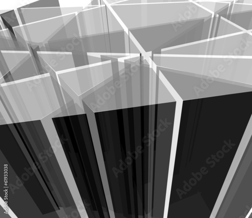 Abstract grayscale transparent shapes
