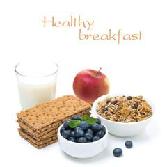 healthy breakfast - crisp bread, apple, fresh blueberries, milk