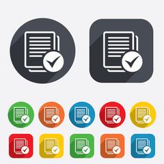 Text file sign icon. Check File document symbol.