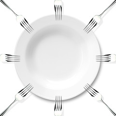 Plate and forks on the red background