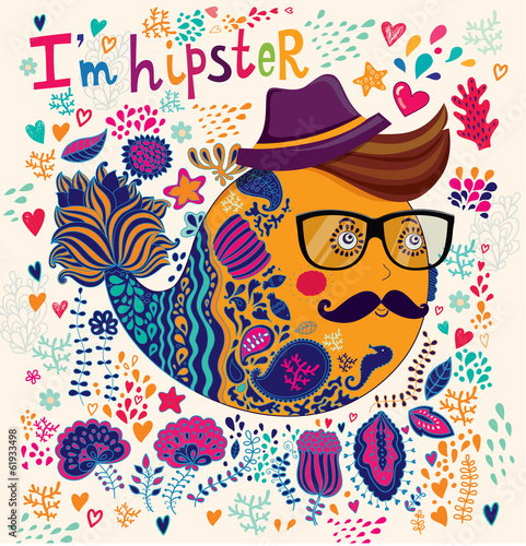 Hipster character illustration. Art card