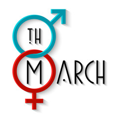 Women's day card with gender signs