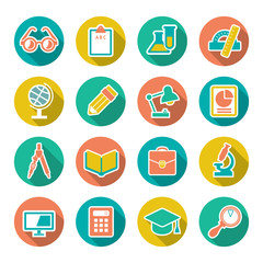 Set flat icons of school and education with long shadow