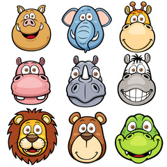 Vector illustration of Wild animals faces cartoons