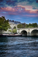Paris, view of the Seine and the boat,  beautiful sunset sky